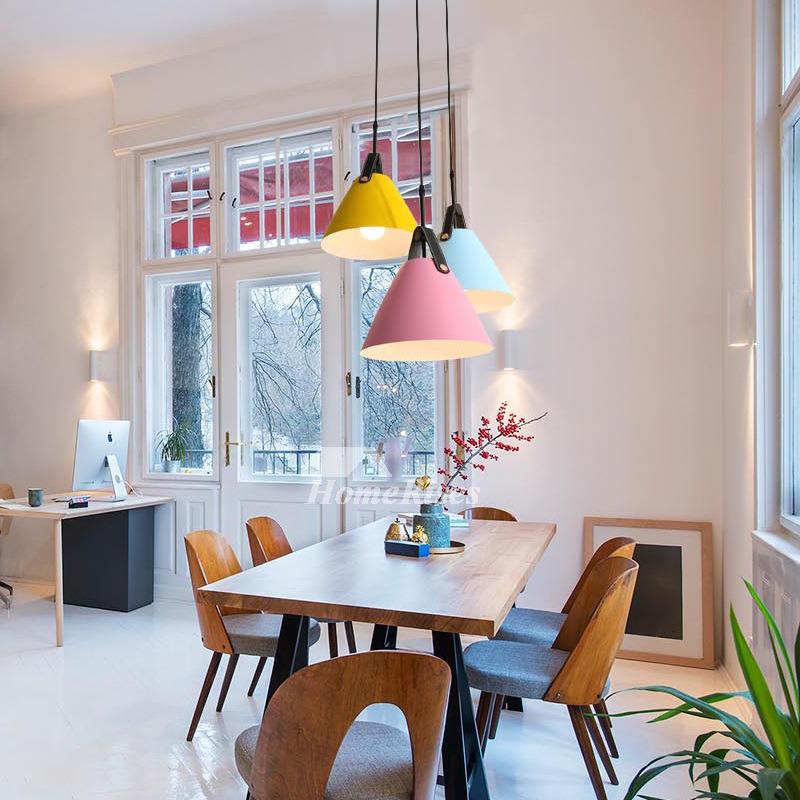 Kitchen Pendant Lighting Blue/Pink/Yellow Iron Hanging