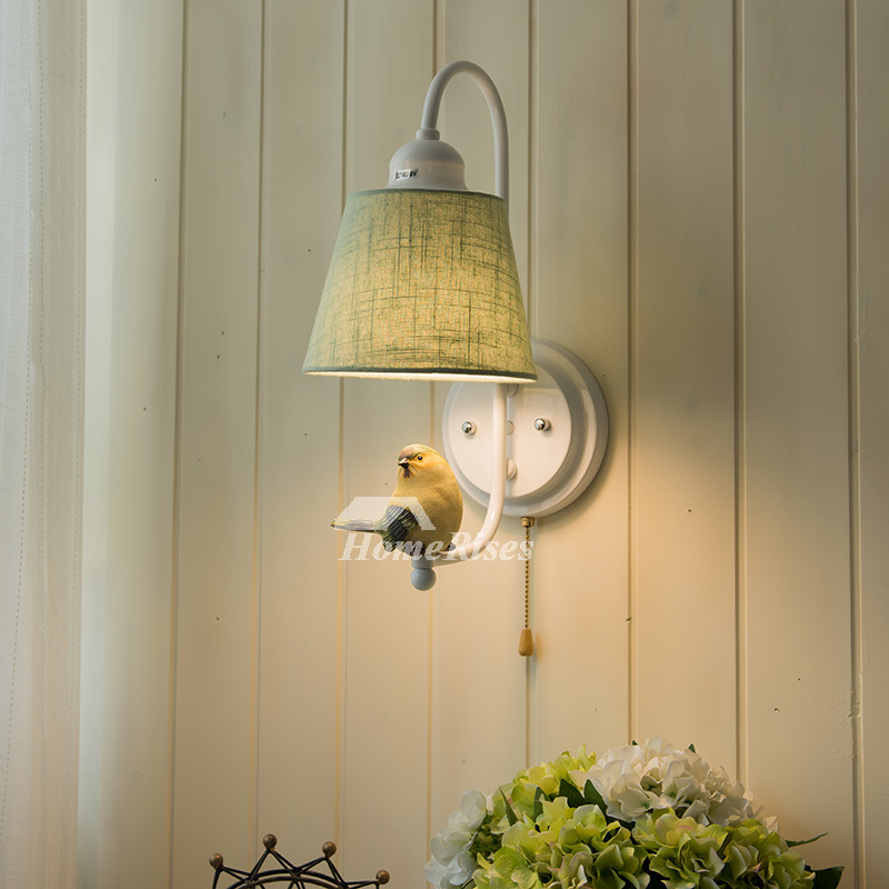 Decorative Bird Fabric Kids Wall Light Sconce Rustic Bedroom Small