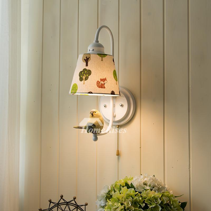 Decorative Bird Fabric Kids Wall Light Sconce Rustic Bedroom Small