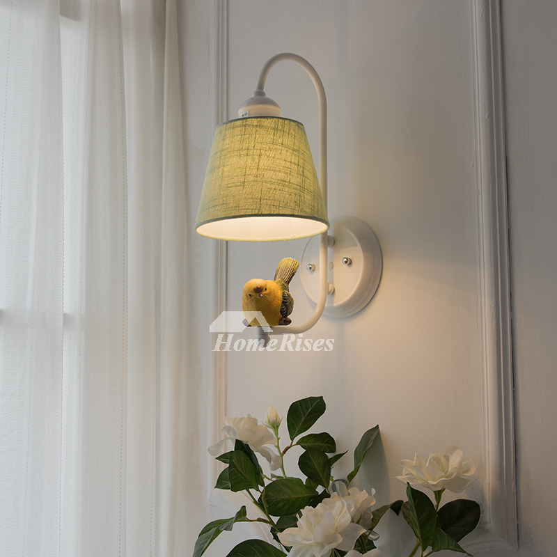 Bedroom Wall Sconces Fabric Wrought Iron Small Kid Modern Lighting