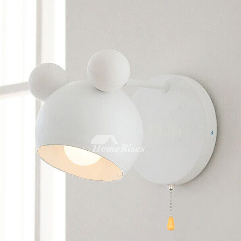 Kids Wall Sconce With Pull Chain White Black Nursery