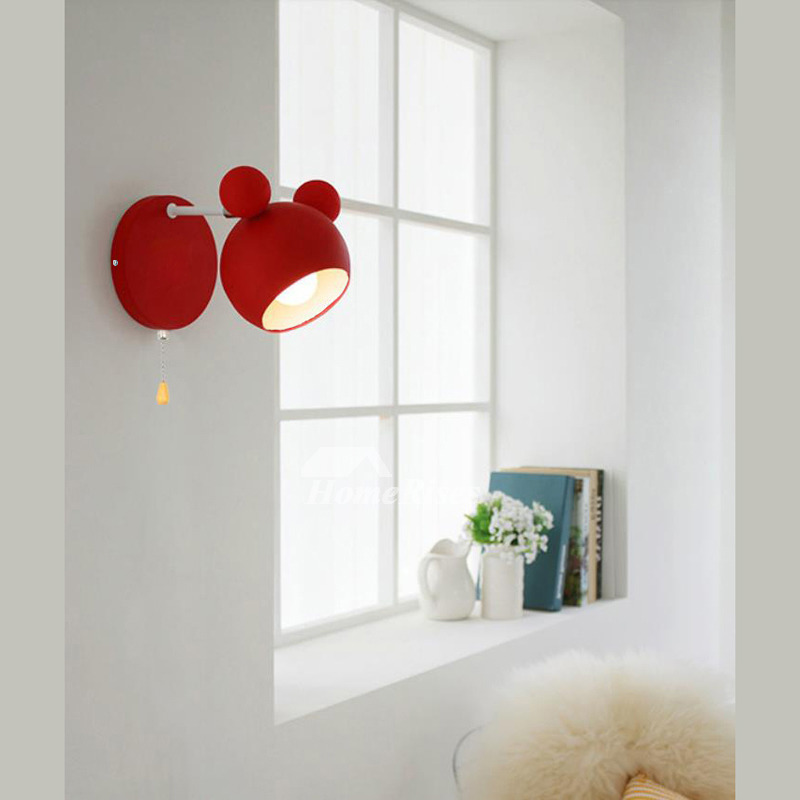 Kids Wall Sconce With Pull Chain White Black Nursery Bedroom Best