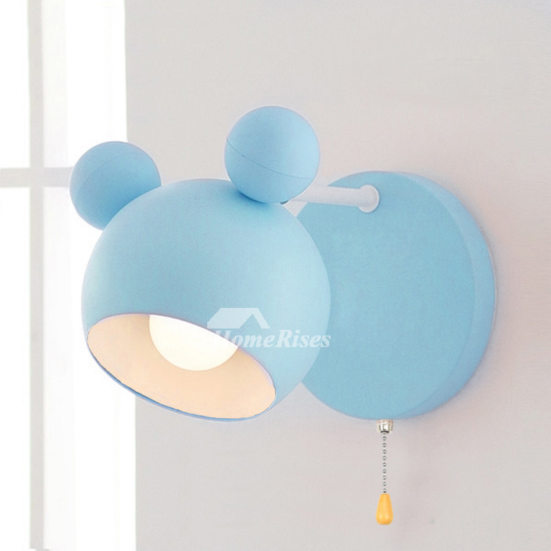 Decorative Wall Sconces Pink/Blue Small Wrought Iron Light Pull Chain