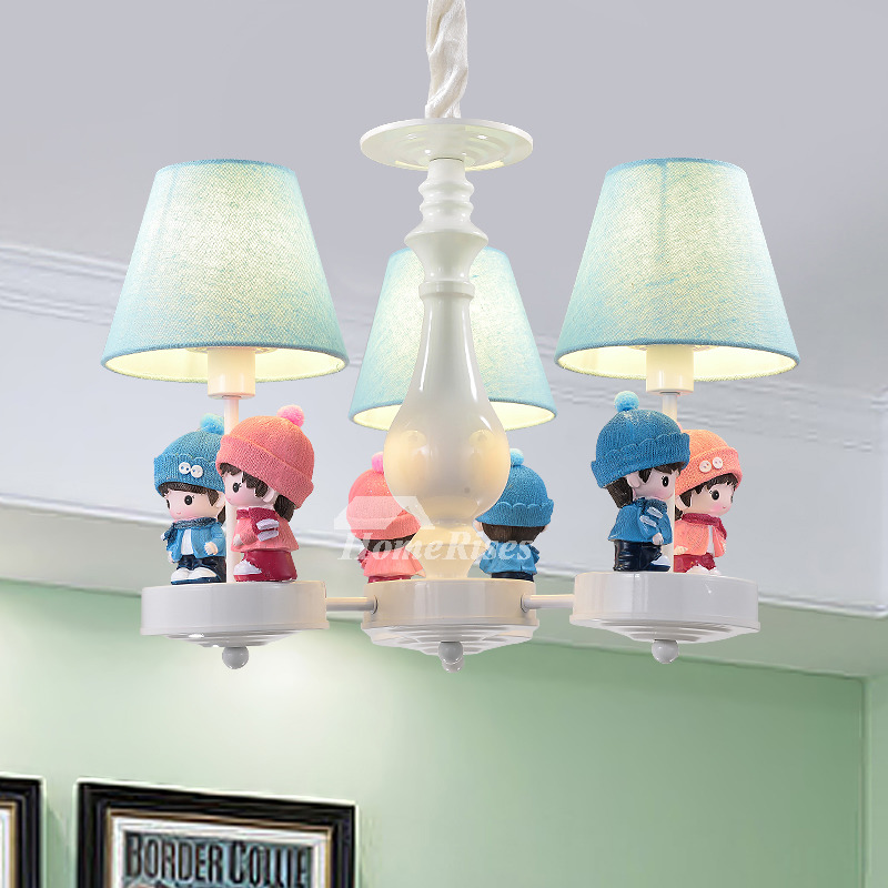 Chandelier For Girls Room 3/5/6 Light Wrought Iron Fabric