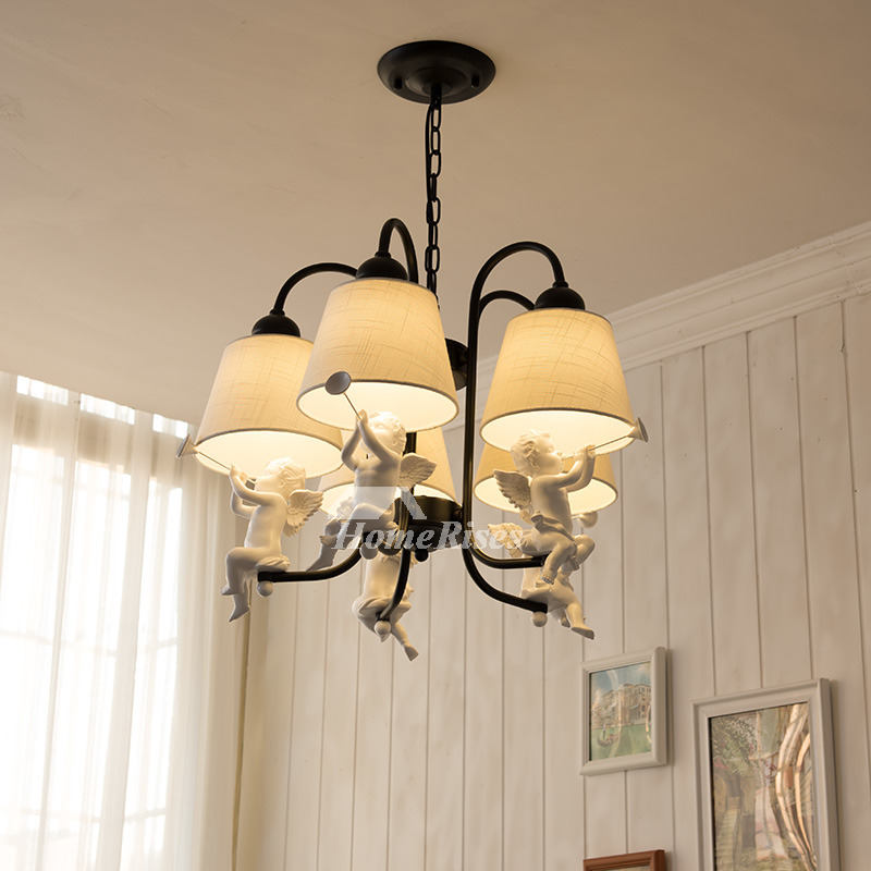 Contemporary Chandeliers 5 Light White Black Fixture Wrought Iron
