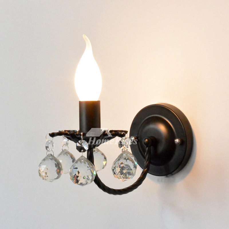 Crystal Wall Sconce Lighting Wrought Iron Decorative