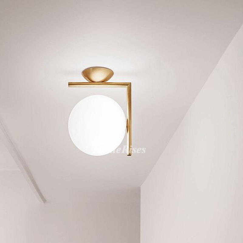 Outdoor Ceiling Lights Wrought Iron Glass Semi Flush Kitchen Fixture