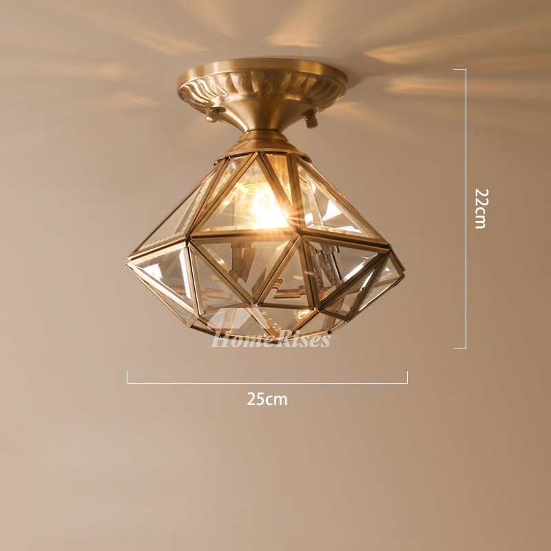 Star Ceiling Light Brass Glass Semi Flush Small Bathroom