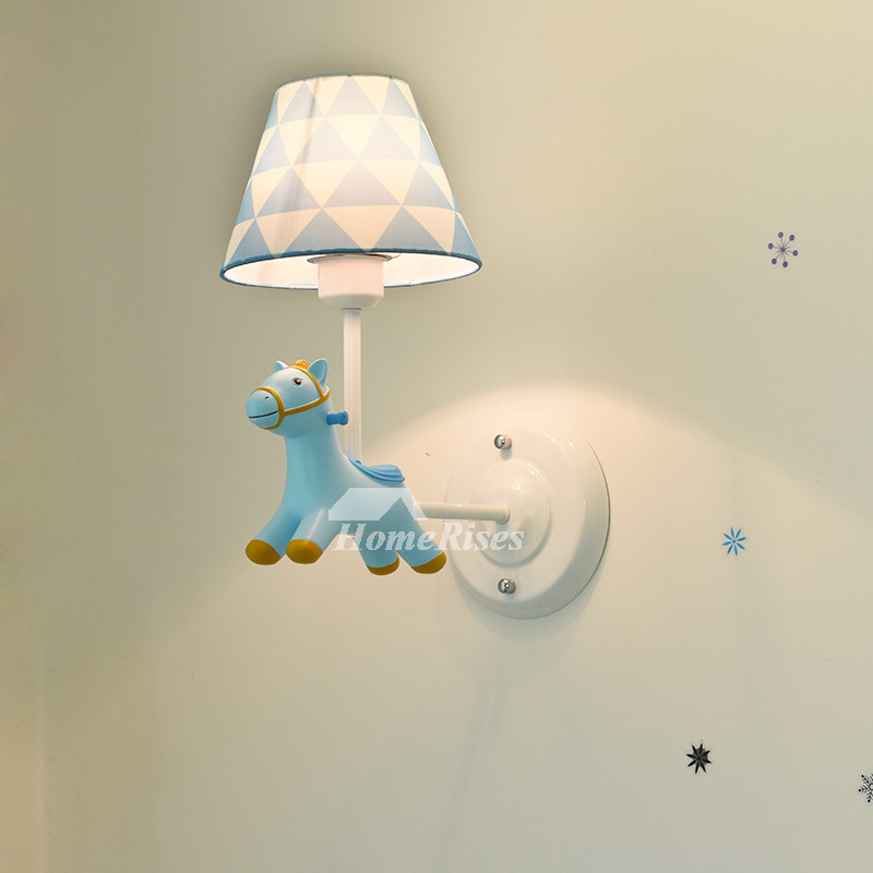Nordic Modern Wall Sconces Kids Nursery Blue Pink Wrought Iron Fabric