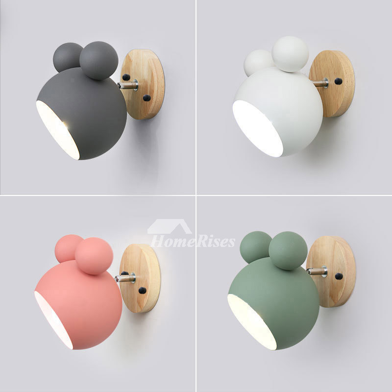 Wall Sconce Lighting Kids Nursery Pink White Wood Wrought Iron Cute