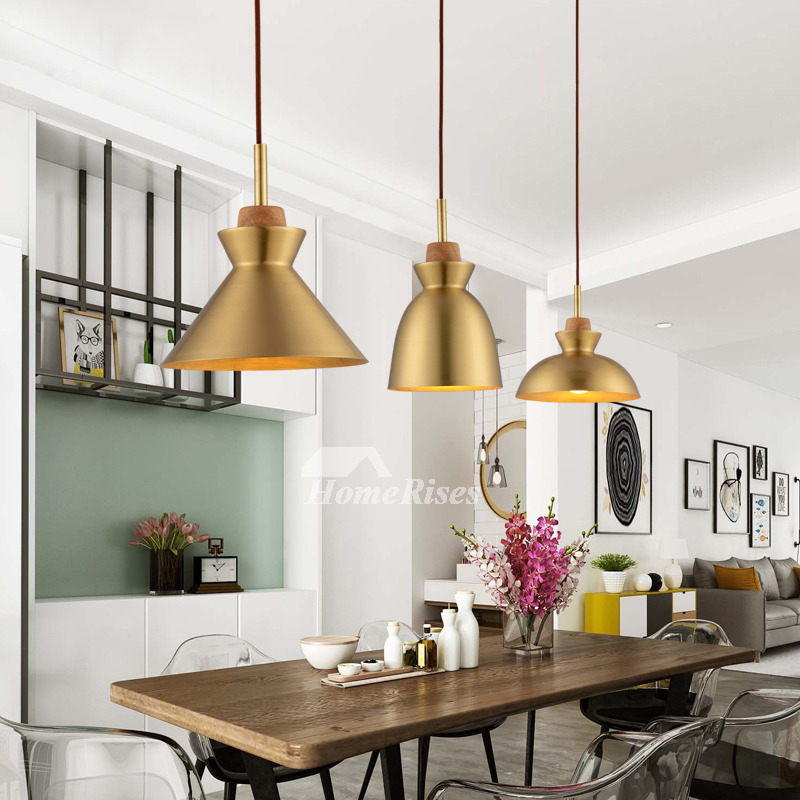 Brass Pendant Light Hanging For Living Room Fixture Luxury Gold Wood