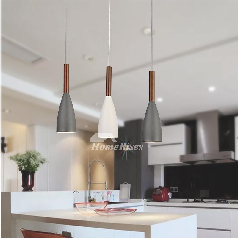 Mini Pendant Lights Metal Wood Hanging Black Gray White Dinning Room