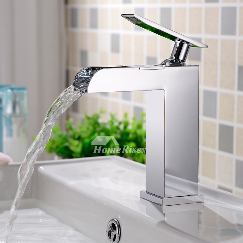 Bathroom Sink Faucets Cheap: Waterfall Bathroom Faucet Chrome Square Silver Discount
