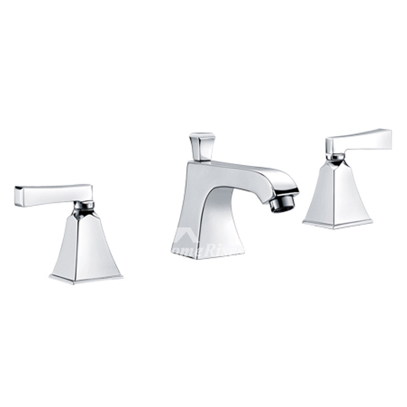 Modern Silver White Gold Bathroom Faucet 3 Hole Widespread Best