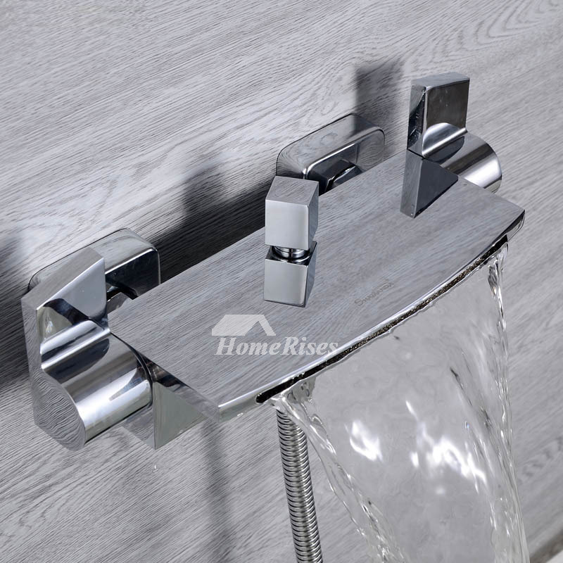 Wall Mount Chrome Oil Rubbed Bronze Tub Faucet Silver/Black Waterfall