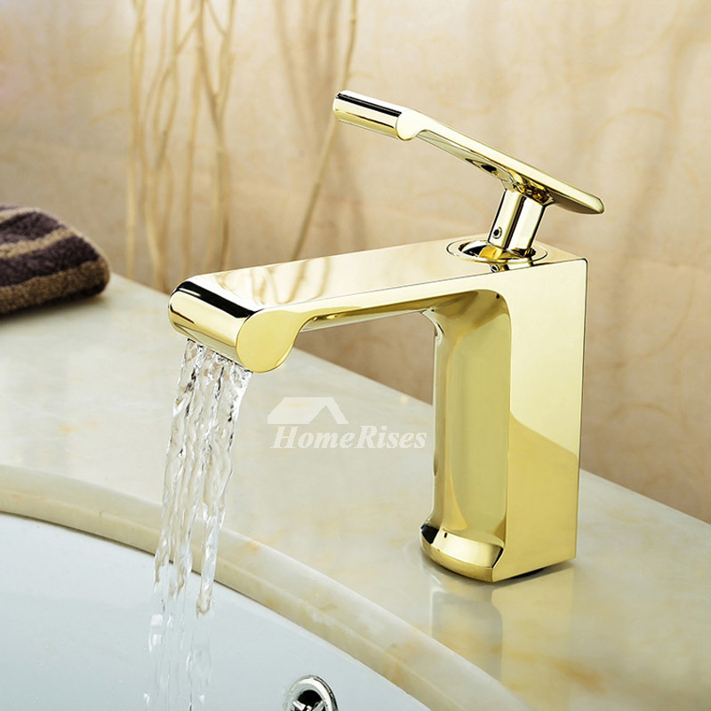 Polished Brass Bathroom Faucet Chrome Waterfall Vessel Single Hole
