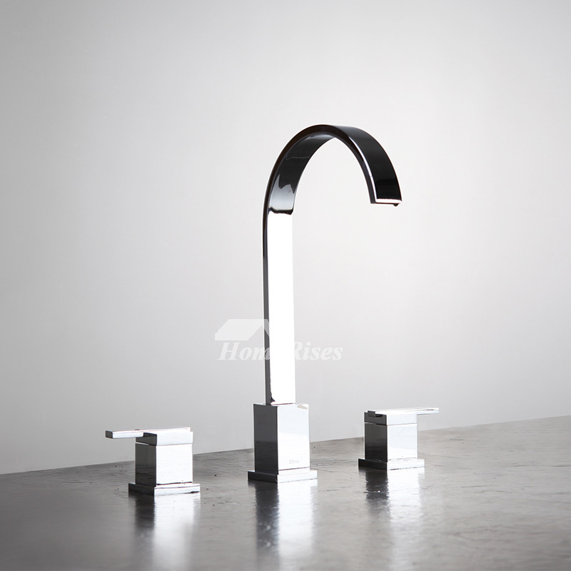 3 Hole Bathroom Faucet Chrome/Brushed Nickel Widespread Unique