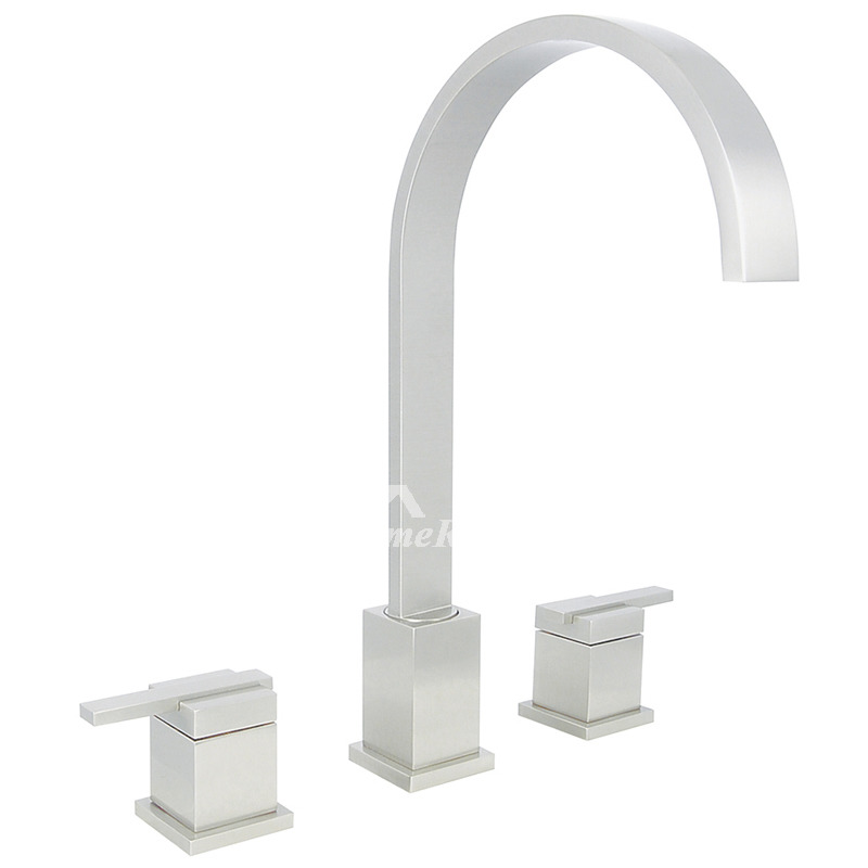 3 Hole Bathroom Faucet Chrome Brushed Nickel Widespread Unique