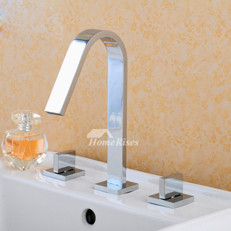 High End Bathroom Faucets 3 Hole Widespread Silver/Gold Sink Chrome