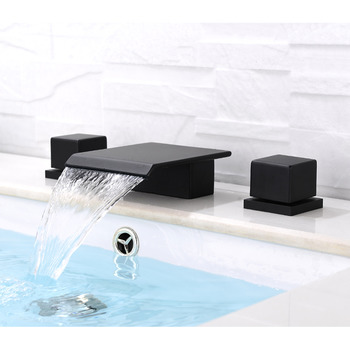 black bathroom faucets 3 hole oil rubbed bronze square waterfall - Cheap Bathroom Faucets