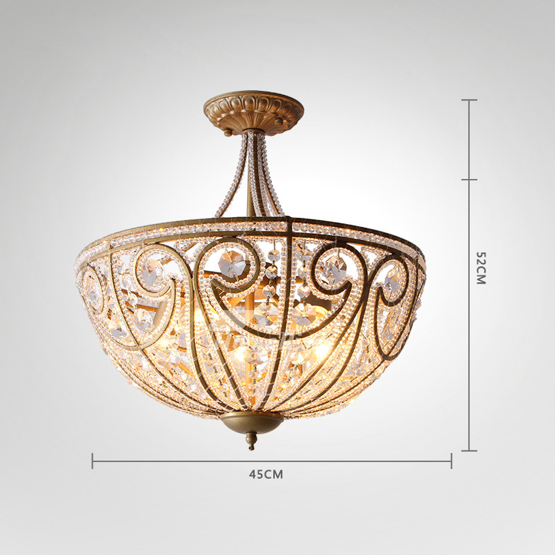 huge discount e1f39 4acab Crystal Ceiling Light Semi/Flush Mount Wrought Iron Hanging Bedroom