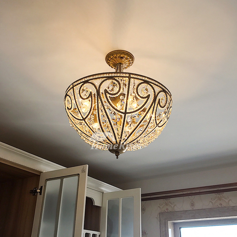 Crystal Ceiling Light Semi Flush Mount Wrought Iron