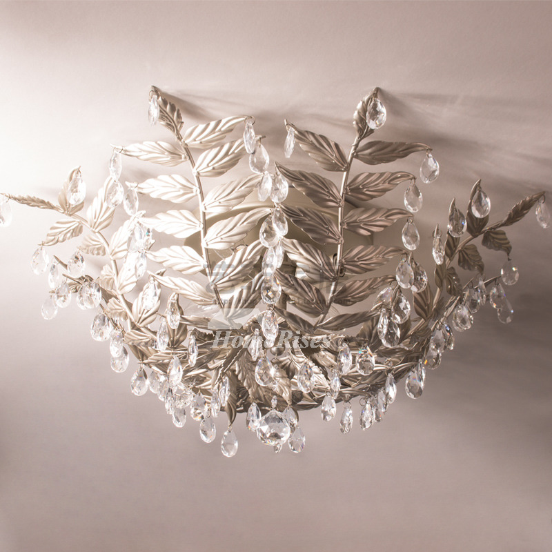 Bedroom Ceiling Light Fixtures Twig Crystal 4-Light Wrought Iron