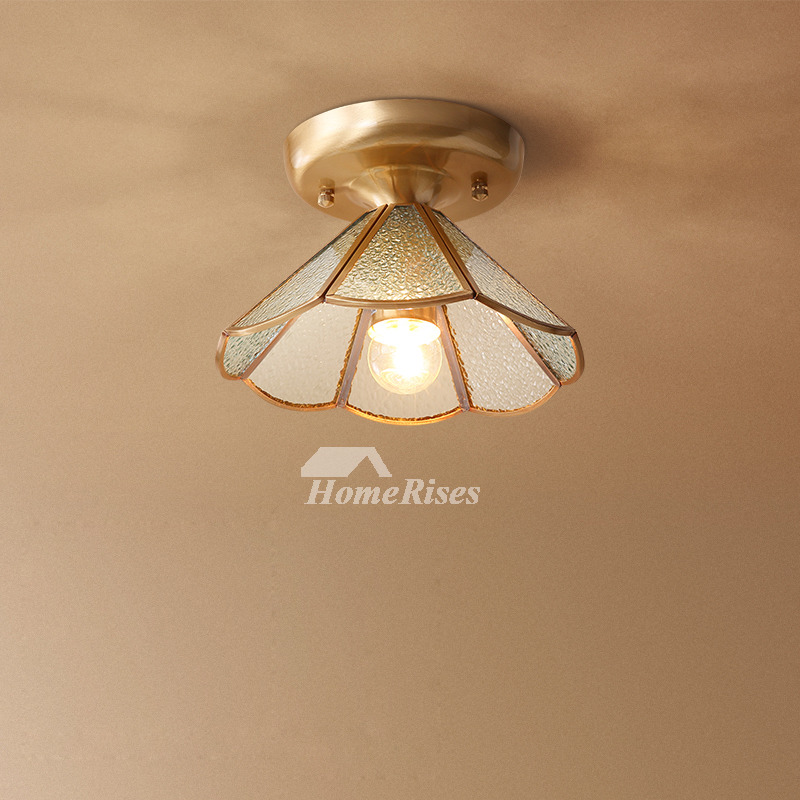 Semi Flush Ceiling Lights Glass Brass Fixture Bathroom