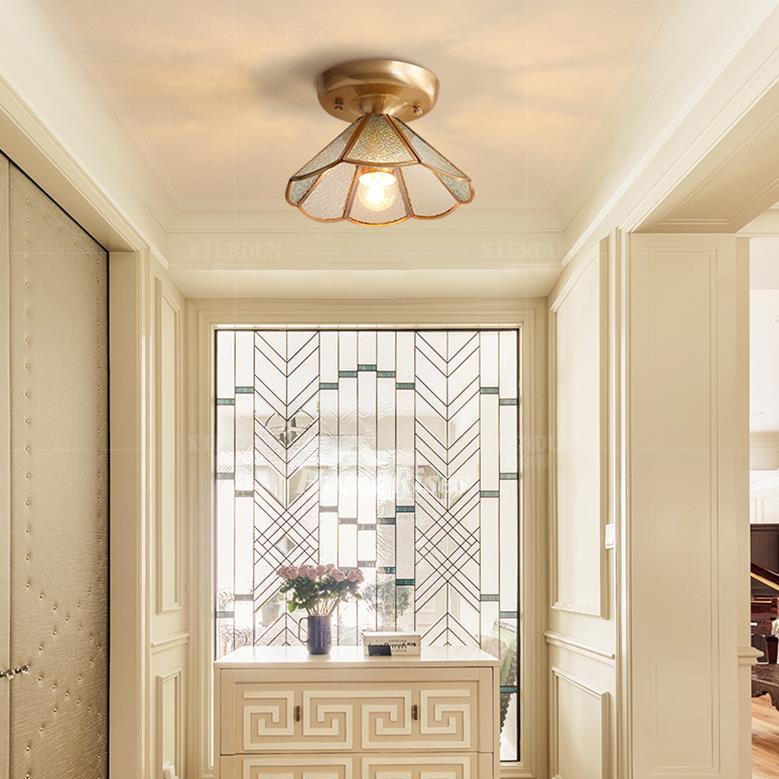 Semi Flush Ceiling Lights Glass Brass Fixture Bathroom