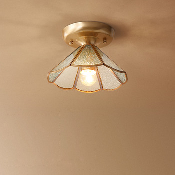 Cheap Ceiling Lights Wood Glass Metal Semi Flush For Kitchen Small