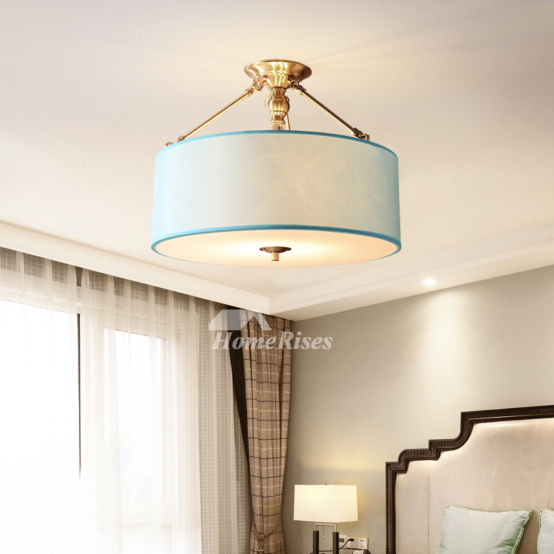 Drum Chandelier 4 Light Brass Fabric Shade Bedroom Modern