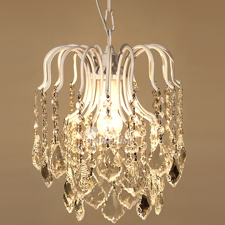 Mini Crystal Chandelier Hanging White/Black/Gold Wrought Iron Lighting