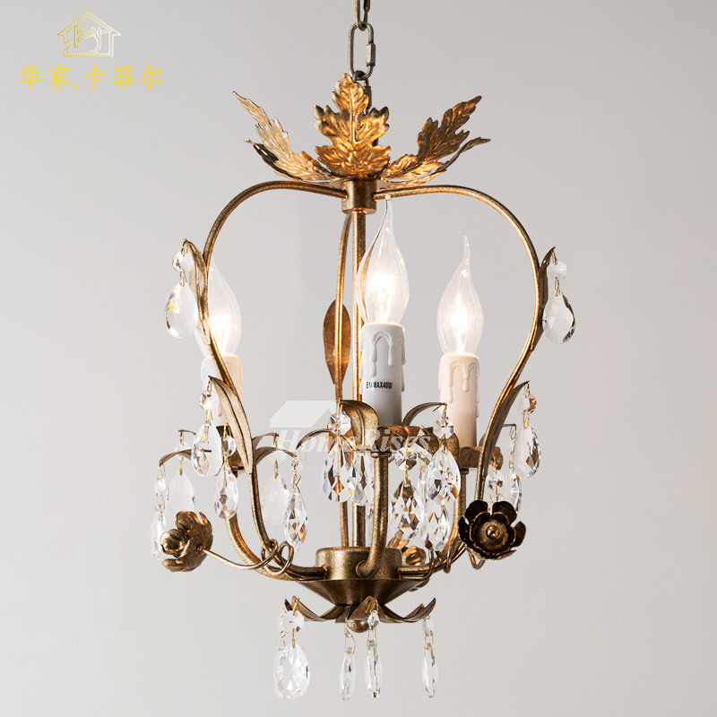 Small Chandelier Crystal Wrought Iron Rustic Lighting ...