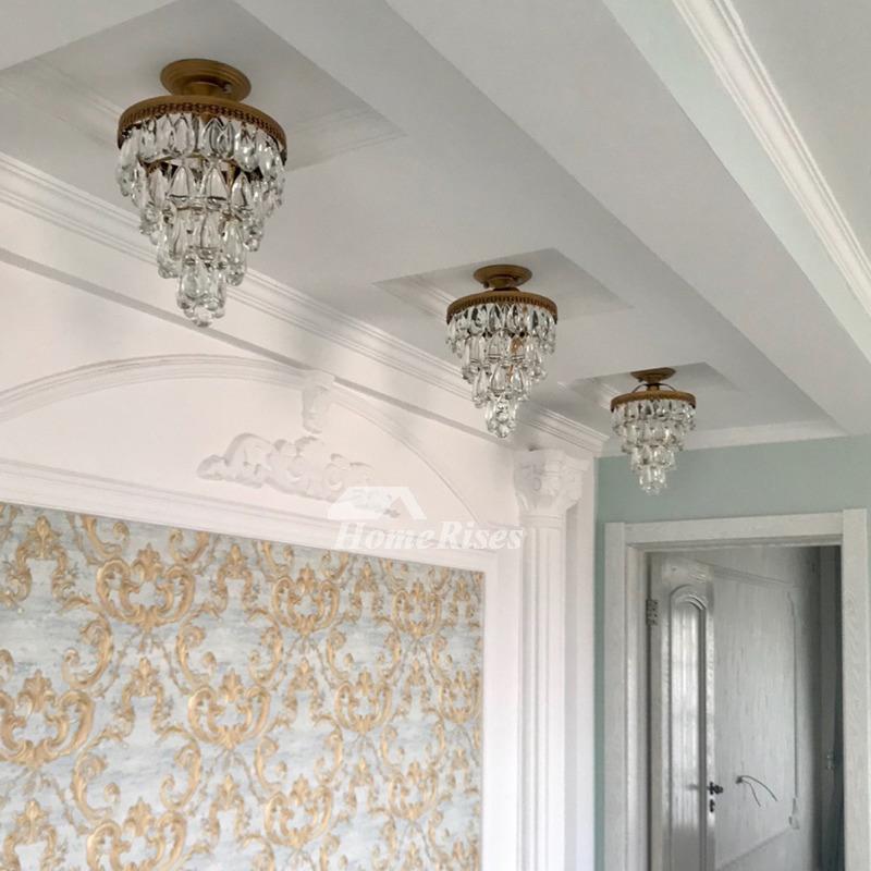 Crystal Ceiling Light Wrought Iron Flush Mount Bedroom ...