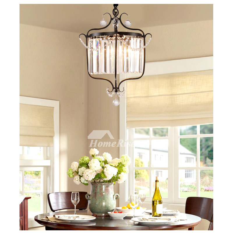 Mini Crystal Chandelier Black Gold Wrought Iron 1 Light