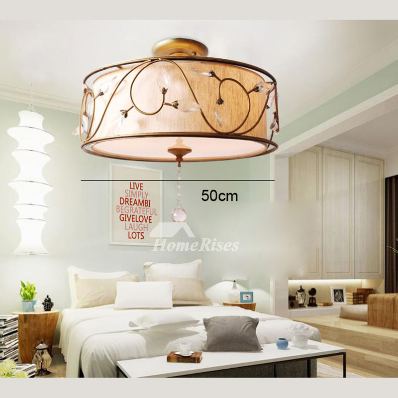 Rustic Ceiling Light Fixtures Semi Flush Drum Bedroom Hanging Crystal