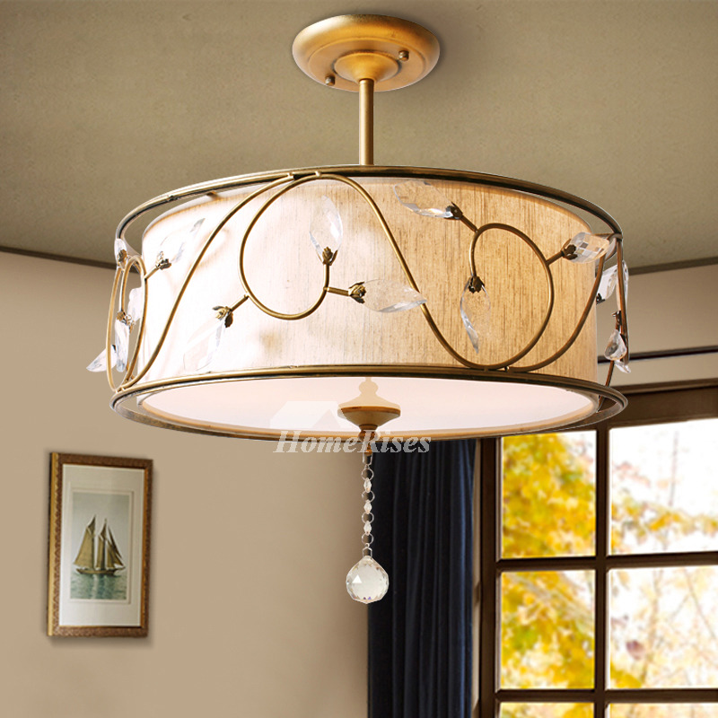Rustic Ceiling Light Fixtures Semi Flush Drum Bedroom Hanging Crystal
