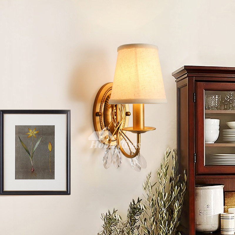 Rustic Wall Sconce Wrought Iron Fabric Crystal Modern Decorative