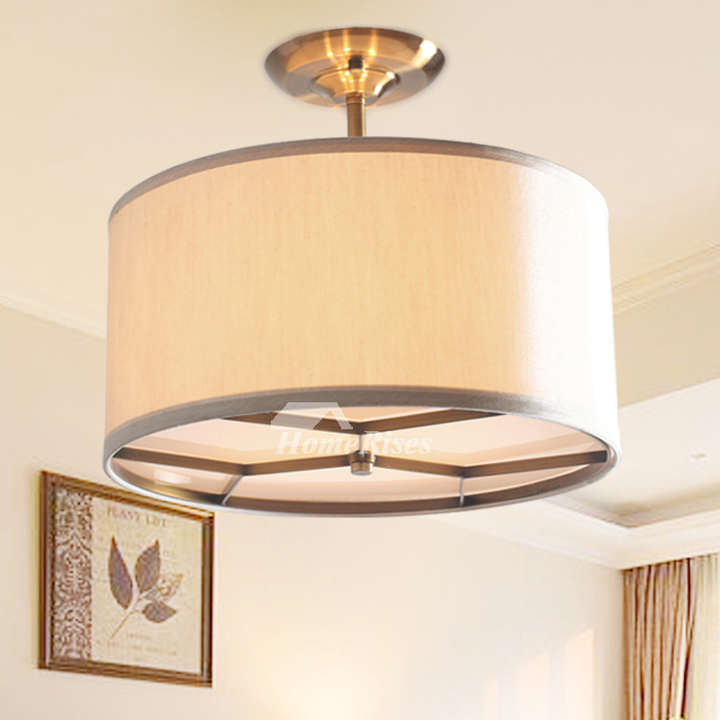 Semi Flush Ceiling Light Rustic Drum Kitchen Fixture