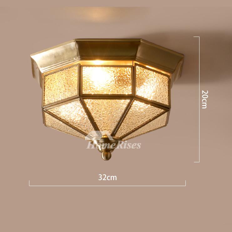 Flush Mount Bedroom Lighting: Flush Mount Ceiling Light Glass Rustic Bedroom 3 Light