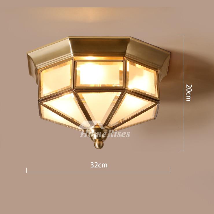 Flush Mount Ceiling Light Glass Rustic Bedroom 3 Light Outdoor Brass