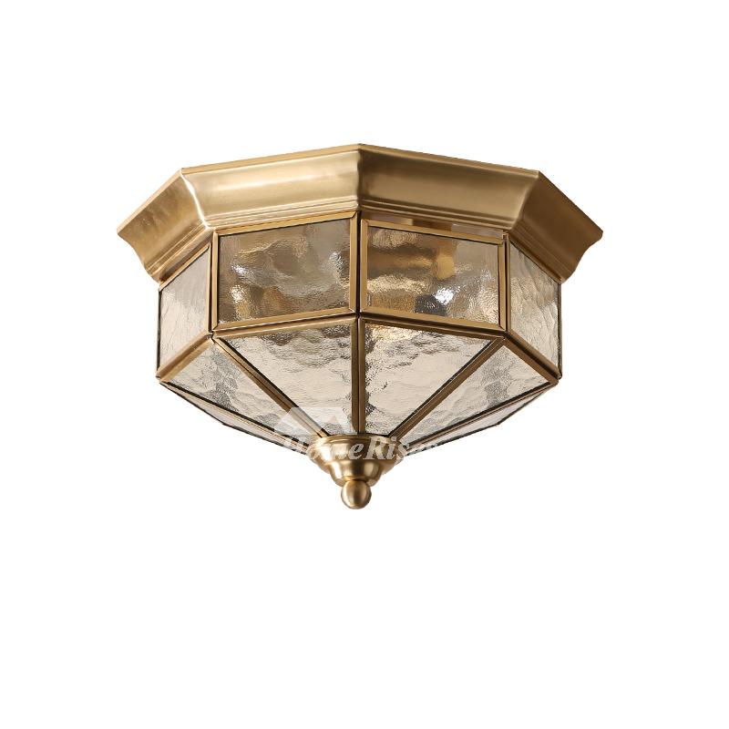 Flush Mount Ceiling Light Glass Rustic Bedroom 3 Light