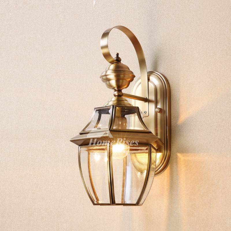 Decorative Outdoor Lighting: Brass Wall Sconce Glass Outdoor Decorative Lighting Unique