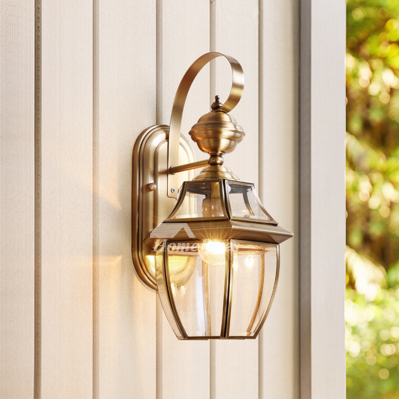Brass Wall Sconce Glass Outdoor Decorative Lighting Unique