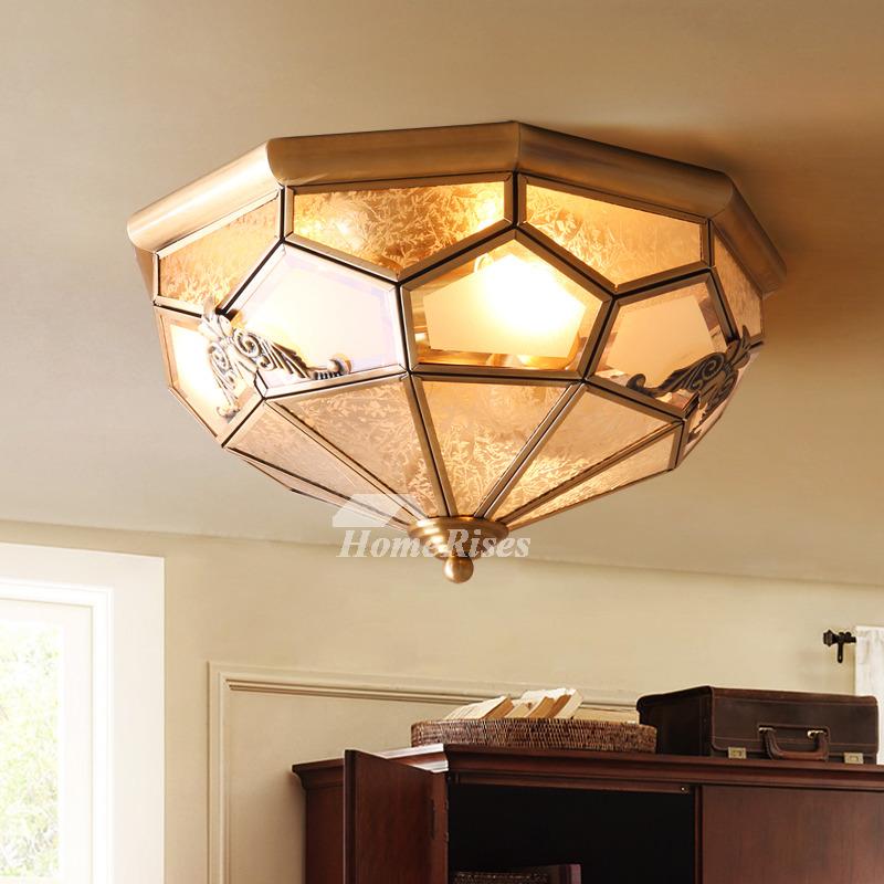 Flush Mount Bedroom Lighting: Flush Mount Ceiling Light Brass Glass 3/4 Light Bedroom