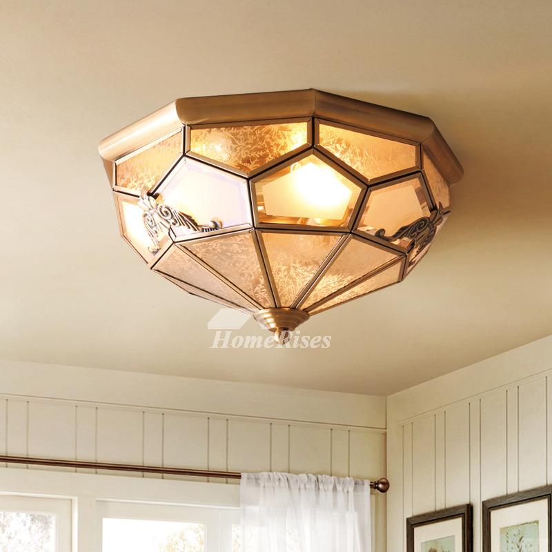 Flush Mount Ceiling Light Brass Glass 3/4 Light Bedroom Fixture Gold