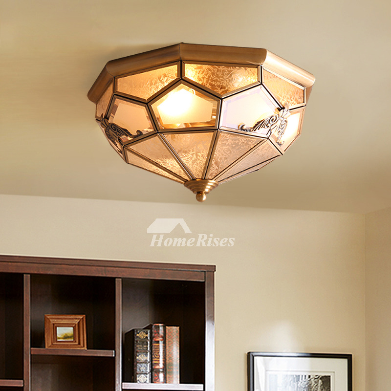 Flush Mount Ceiling Light Brass Glass 3 4 Light Bedroom