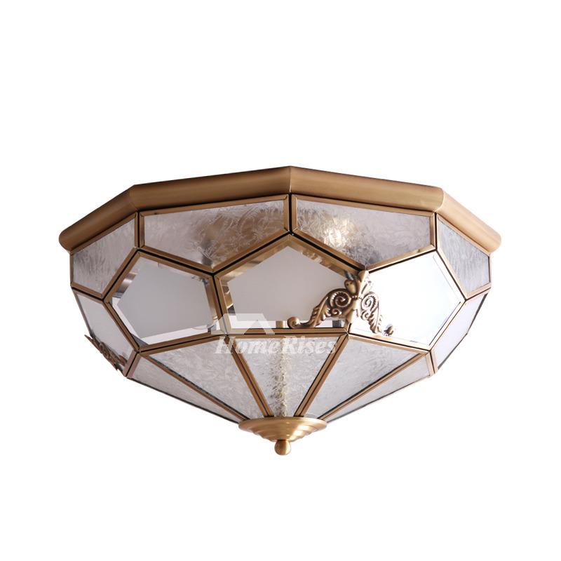 Flush Mount Ceiling Light Brass Glass 3/4 Light Bedroom