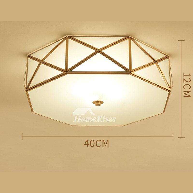Ceiling Light Fixtures Glass Brass E27 Bedroom Unique 4/5