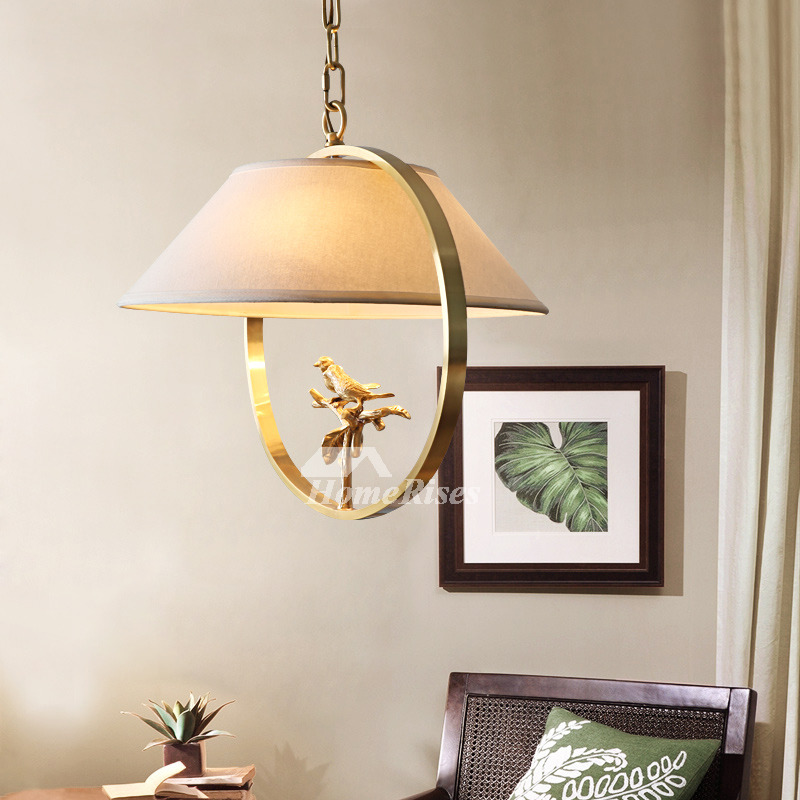 Bird Chandelier Brass Fabric Rustic Hanging Bedroom